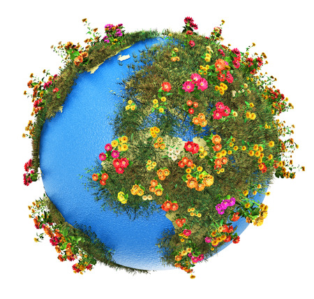 small world: Creative abstract global ecology and environment protection business concept  mini green Earth planet globe with world map with green grass and color meadow flowers isolated on white background Stock Photo