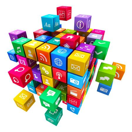 Creatieve mobiele applicaties, media technologie en internet netwerksites communicatieconcept kleurrijke metallic kubus met een wolk van kleur pictogrammen voor toepassingen op witte achtergrond