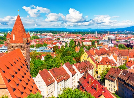 nuremberg: Scenic summer aerial panorama of the Old Town architecture in Nuremberg, Germany Stock Photo