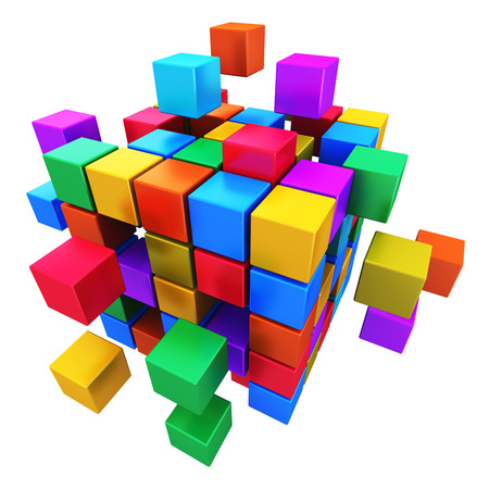Creative abstract business teamwork, internet and communication concept  colorful cubic structure with assembling metallic cubes isolated on white background Stock Photo