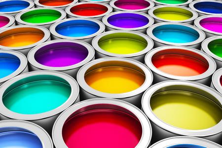 색 페인트 염료 주석 금속 캔의 추상 창의성 개념 그룹