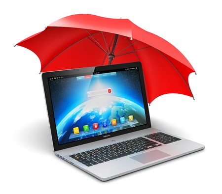 Creative abstract antivirus security and computer data privacy and protection technology business concept  modern laptop or office notebook PC covered by red umbrella or parasol isolated on white background Stock Photo