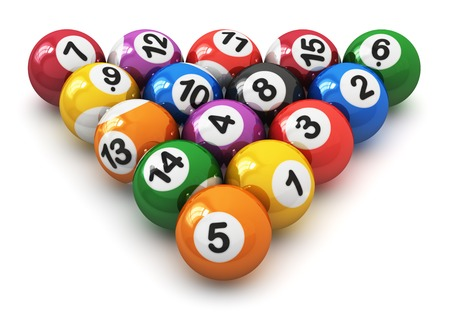 Set of color balls with numbers for american billiard game isolated on white background photo