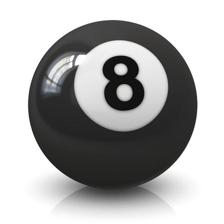 pool bola: Bola ocho 8 juego de billar aislado en fondo blanco con efecto de reflexi�n