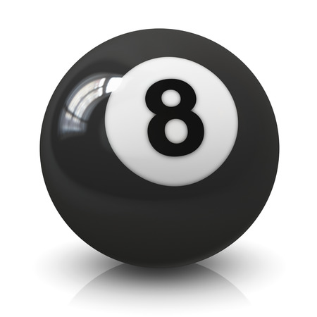 Eight 8 billiard game ball isolated on white background with reflection effect