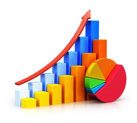 grafica de pastel: El éxito del negocio abstracto creativo, el crecimiento económico y el desarrollo del concepto de color que crecen gráficos de barras con la flecha roja en aumento y colorido gráfico de sectores aislados sobre fondo blanco con efecto de reflexión Foto de archivo