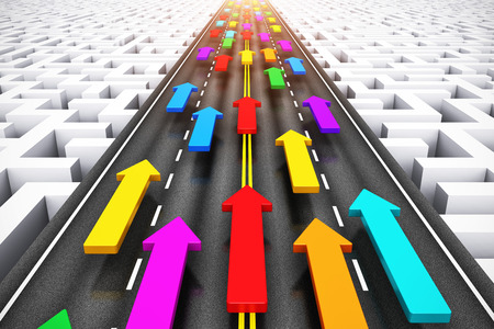 Creative abstract success, teamwork and business competition challenge corporate concept  group of color arrows moving by highway over endless labyrinth photo