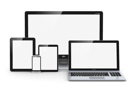 Creatieve abstracte computer-technologie, mobiliteit en communicatie business concept laptop, notebook of netbook pc, mini-tablet-computer, touchscreen smartphone en desktop monitor tv op een witte achtergrond
