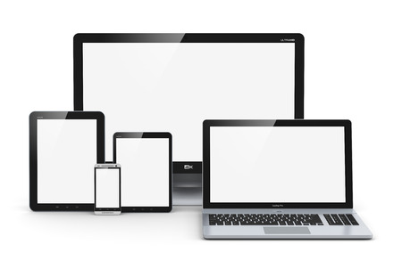 device: Creative abstract computer technology, mobility and communication business concept  laptop, notebook or netbook PC, mini tablet computer, touchscreen smartphone and desktop monitor display screen TV isolated on white background Stock Photo