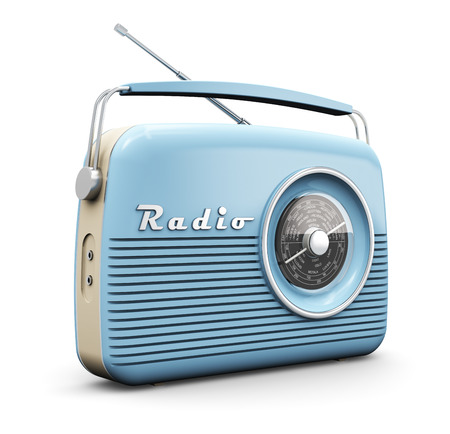 Old blue vintage retro style radio receiver isolated on white background Imagens