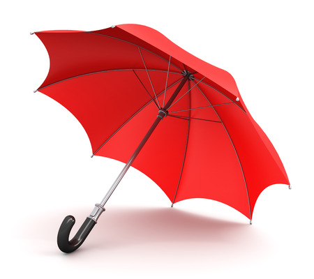 wetness: Red umbrella or parasol with black handle isolated on white background Stock Photo