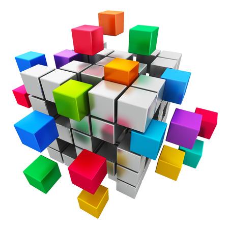 Kubieke Creatieve abstracte zakelijke teamwork, internet en communicatie concept kleurrijke structuur met het samenstellen van metalen kubussen op een witte achtergrond Stockfoto