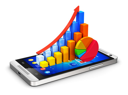 mobile web: Creative abstract business finance statistics and corporate analytics internet web concept  color bar graphs and pie chart on modern black glossy touchscreen smartphone or mobile phone isolated on white background