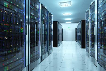 現代ネットワークと通信技術のコンピューター概念のサーバー ルーム データ センター 写真素材