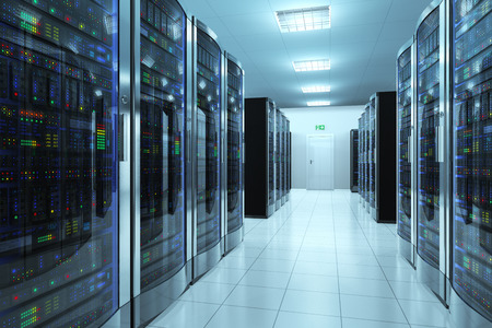 Modern network and telecommunication technology computer concept  server room in datacenter Stock Photo - 25758958