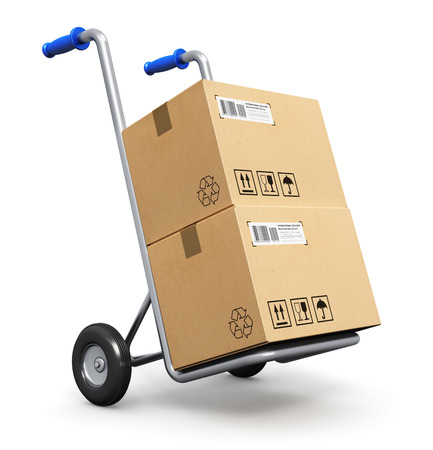 hand truck: Metal hand truck with corrugated cardboard package boxes isolated on white  Stock Photo