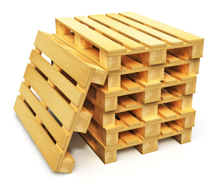 Logistics, cargo transportation and freight shipment concept stack of wooden shipping pallets isolated on white