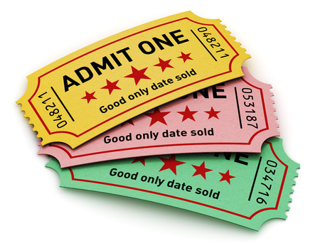 admit one: Cinema industry entertainment, film production and movie concept  group of color tear-off tickets with Admit One text isolated on white