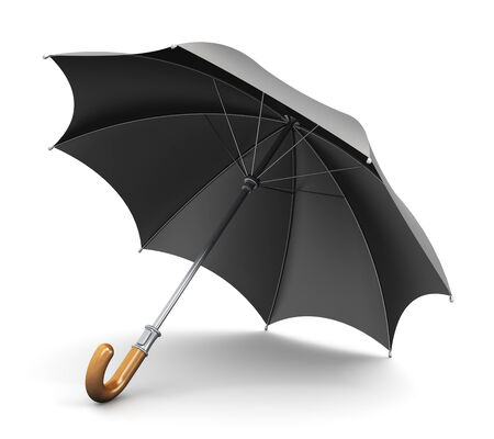 wetness: Black umbrella or parasol with wooden handle isolated on white background