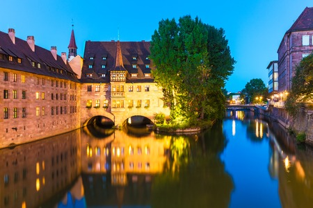 nuremberg: Summer evening scenic cityscape of the Old Town architecture in Nuremberg, Germany Stock Photo