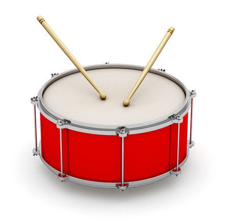 Creative abstract musical instrument concept  red drum with pair of drumsticks isolated on white  photo