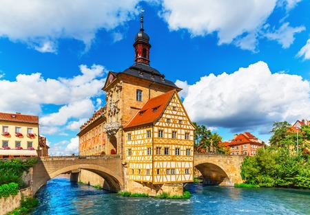 Scenic summer view of the Old Town architecture with City Hall building in Bamberg, Germany photo