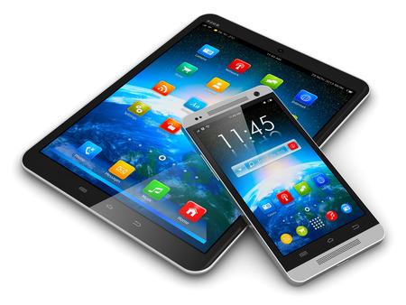 Creatieve abstracte mobiliteit en moderne draadloze telecommunicatietechnologie business concept tablet-computer PC en metalen zwarte glanzende touchscreen smartphone met kleurrijke-interface op wit wordt geïsoleerd