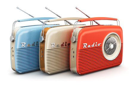 Collection of old color vintage retro style radio receivers isolated on white background photo