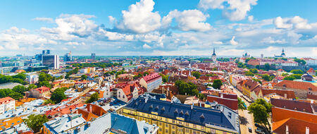 Scenic summer aerial panorama of the Old Town architecture in Tallinn, Estonia photo