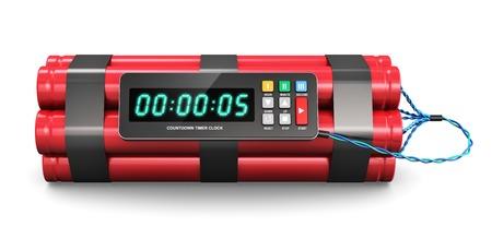 Tiempo de explosivo TNT bomba con reloj temporizador de cuenta atrás digital aisladas sobre fondo blanco