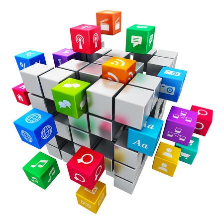 흰색 배경에 고립 된 컬러 응용 프로그램 아이콘의 구름과 함께 창조적 인 모바일 애플리케이션, 미디어 기술과 인터넷 네트워킹 웹 통신 개념 다채로 스톡 콘텐츠