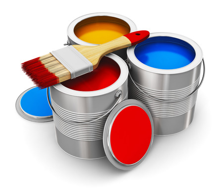 Metal tin cans with color paint and paintbrush isolated on white background photo