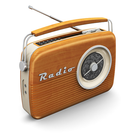 Old wooden vintage retro style radio receiver isolated on white background photo
