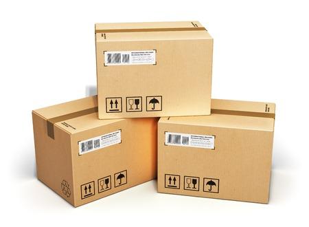 Scheepvaart, logistiek en retail goederen levering business concept stapel van golfkartonnen doos pakketten geà ¯ soleerd op witte achtergrond