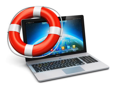 Creative computer PC help, support and assistance, internet web mobility and business communication concept  macro view of red lifesaver inflatable ring belt or buoy on laptop or office notebook keyboard isolated on white background