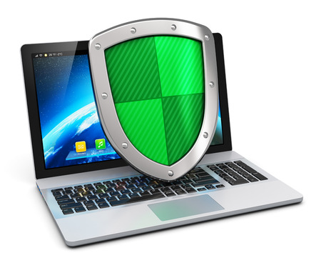 Creative abstract computer internet security networking and business communication antivirus concept  modern laptop with protection shield isolated on white background photo