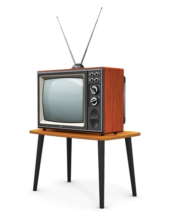 Creative abstract communication media and television business concept  old retro color wooden home TV receiver set with antenna on wood table isolated on white background photo