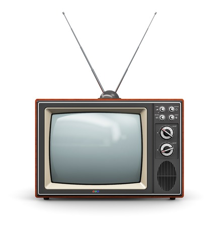 Creative abstract communication media and television business concept  old retro color wooden home TV receiver set with antenna isolated on white background