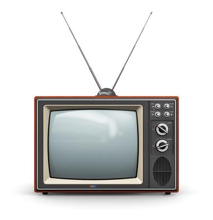 old technology: Mezzi di comunicazione astratta creativa e la televisione concetto di business vecchio colore retr� in legno ricevitore TV a casa insieme con antenna isolato su sfondo bianco Archivio Fotografico