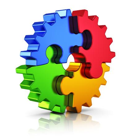 Bedrijfs creativiteit, teamwork, partnerschap en succesconcept metal gear van kleur puzzel stukjes op een witte achtergrond met reflectie effect