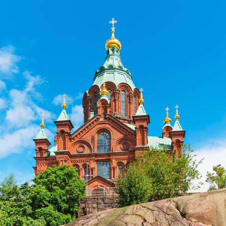 Scenic summer view of Uspenski Orthodox Christian Cathedral Church in Helsinki, Finland photo