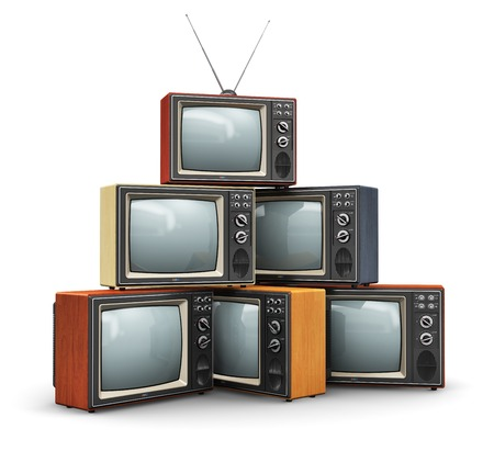 tv sets: Creative abstract communication media and television business concept  stack or pile of old retro color wooden home TV receiver sets with antenna isolated on white background