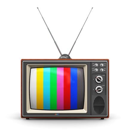 크리 에이 티브 추상 통신 매체와 TV 사업 개념 오래 된 레트로 컬러 나무 가정의 TV 수신기는 흰색 배경에 고립 된 안테나 설정