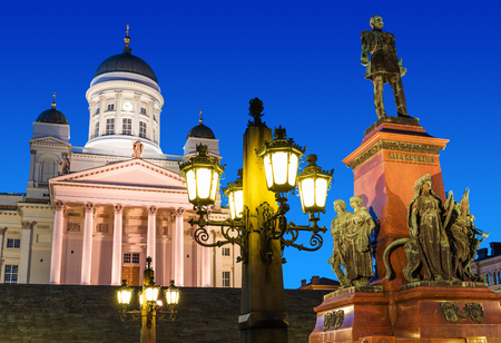 alexander: Famous landmark in Finnish capital  scenic night summer view of Senate Square with Lutheran cathedral and monument to Russian Emperor Alexander II