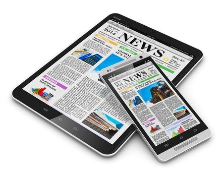 Internet los medios de comunicación web y comunicación en la oficina de negocios concepto de tablet PC de la computadora y el teléfono inteligente con pantalla táctil con web medios de comunicación de negocios aislados en blanco digitales Foto de archivo