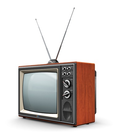 tv set: Creative abstract communication media and television business concept  old retro color wooden home TV receiver set with antenna isolated on white  Stock Photo
