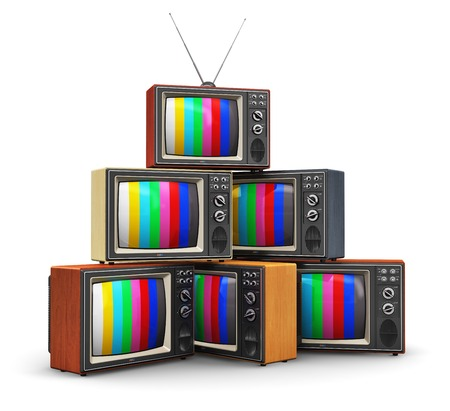 television screen: Creative abstract communication media and television business concept  stack or pile of old retro color wooden home TV receiver sets with antenna isolated on white