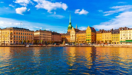 Scenic summer panorama of the Old Town  Gamla Stan  architecture pier in Stockholm, Sweden photo