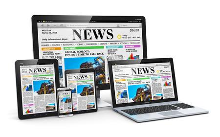 periodicos: Modern medios monitor ordenador dispositivos concepto de escritorio