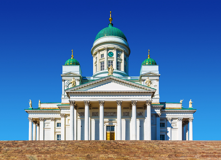 Scenic summer view of Lutheran Christian Cathedral Church at the Senate Square in the Old Town of Helsinki, Finland photo
